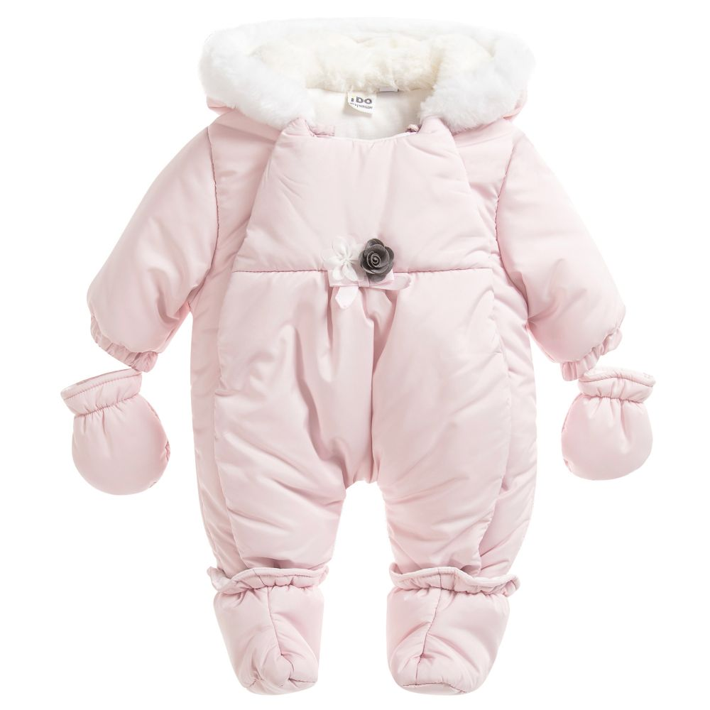 3514cf2ec IDO MINI Baby Girls Pink Snowsuit - Donna Louise Children s Boutique